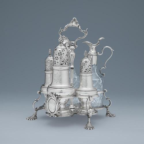 A George III Antique English Silver Warwick Cruet