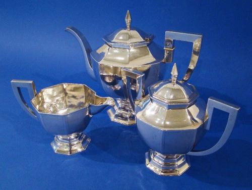 Chinese Export Art Deco Silver 3-Piece Tea Set