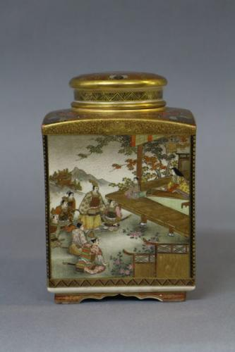 A japanese kinkozan satsuma tea storage canister of square form