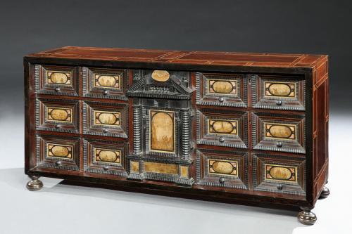 17th century Italian pietra paesina mounted walnut ebony ebonised table cabinet