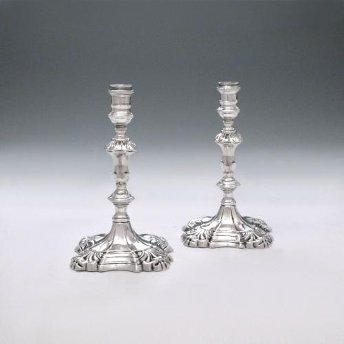 A Pair of George II Antique English Silver Tapersticks