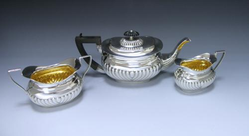 An Edwardian Antique Silver Three Piece 'Bachelor' Tea Set