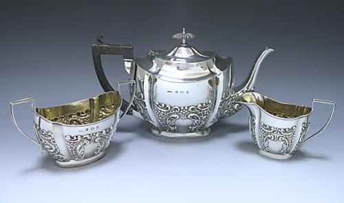 A Victorian Antique Silver Three Piece Tea Set