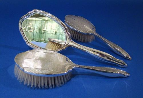 Art Deco Silver Engine-Turned Hand Mirror & Hair Brushes