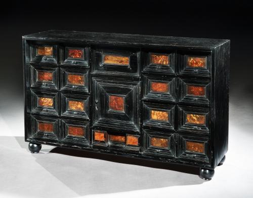 A mid-17th century, Flemish, Ebonised & Tortoishell Table Cabinet