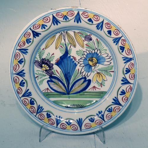 Mid 18th Century Dutch Polychrome Delft Plate