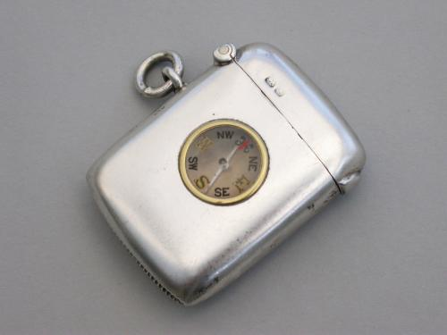 Edwardian Silver Vesta case with inset Compass