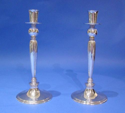 Pair of Art Deco Silver Candlesticks