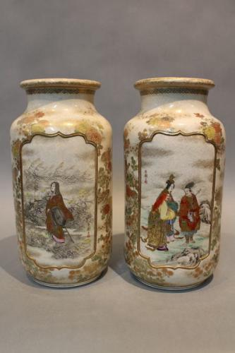 a pair of 19th century japanese satsuma vases decorated with heroes from legend