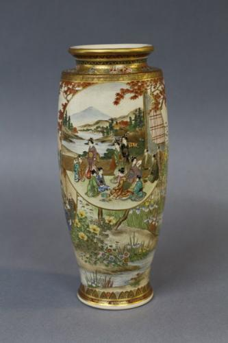 a fine japanese meiji satsuma vase with waterside landscape decoration