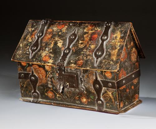 A mid-17th century, Swiss or German, polychrome casket from the Vivien Leigh Collection