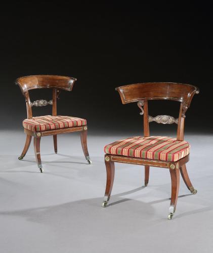Rare Pair of Regency Period Rosewood Klismos Library-Salon Chairs