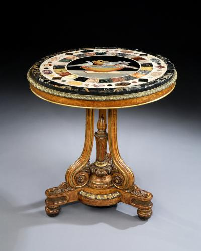 English Antique Regency Period Centre/Circular Table With Grand Tour Marble Top