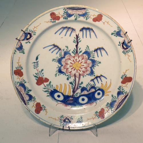 Mid 18th Century Dutch Delft Polychrome Dish