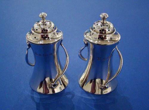 Pair of Art Nouveau Silver Pepper Pots