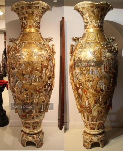 A monumental pair of japanese satsuma vases