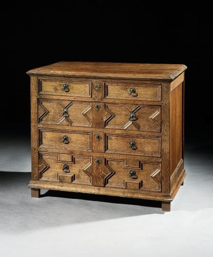 A good mid-17th century oak chest of drawers with a mellow colour and patina