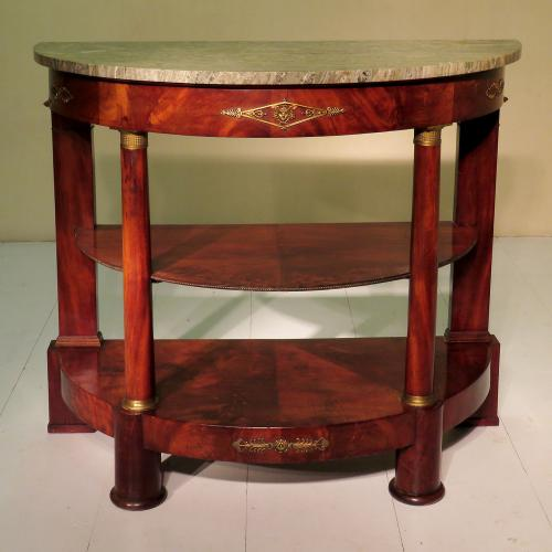 Early 19th Century French Demi Lune Marble Topped Three Tier Buffet