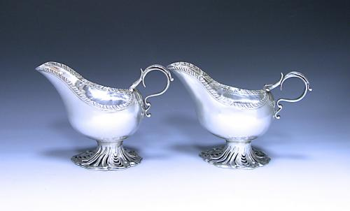 Pair of George III Antique Sterling Silver Sauce Boats