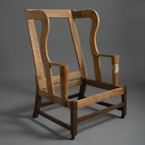 Over-Scale George II Mahogany Wing Armchair