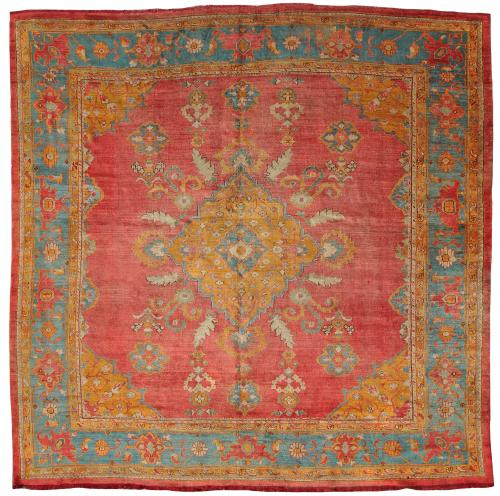 rare square ushak carpet