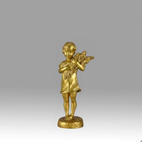 "Art Nouveau Gilt Bronze Figure Entitled ""Flower Girl"" by Suzanne Bizard"