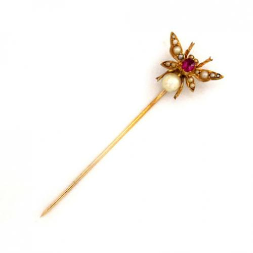 A Victorian Bug Stickpin with Ruby and Pearls