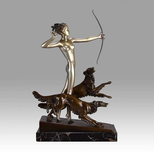 "Austrian Cold Painted Art Deco Bronze Entitled ""Diana the Huntress"" by Lorenzl"