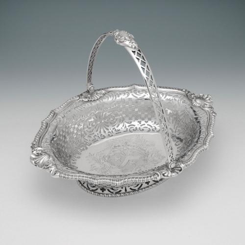 A George II Antique Irish Silver Cake Basket