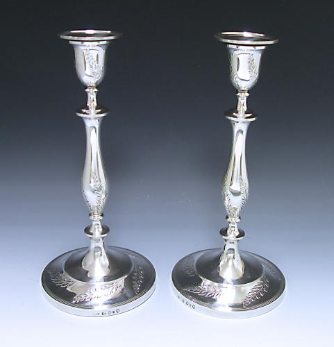PR GEORGE III ANTIQUE SILVER CANDLESTICKS MADE IN 1793