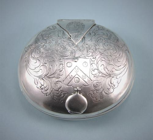 CHARLES II Silver Oval Tobacco Box with Engraved Lid