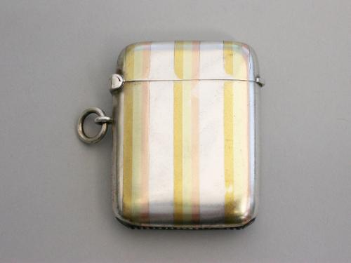 Early 20th Century Silver Vesta Case - 3 Colour Gold Stripes