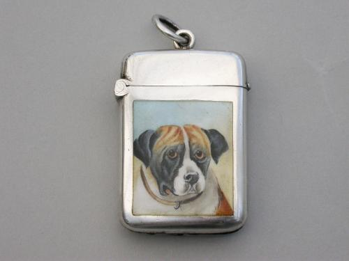 Victorian Silver & Enamel Boxer Dog Vesta Case