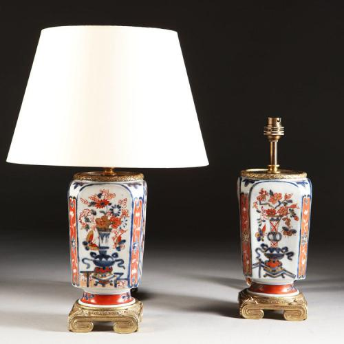 A Pair of Imari Lamps with Gilt Bronze Mounts