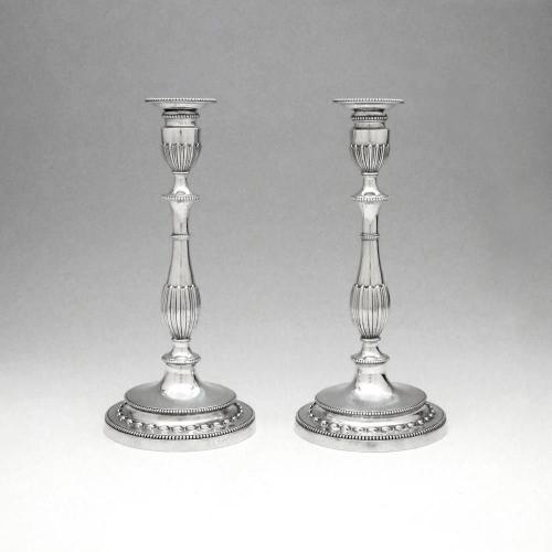 A Pair of George III Antique English Silver Candlesticks
