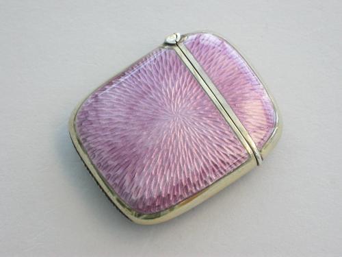 Art Deco Silver Gilt & Lilac Guilloche Enamel Vesta Case