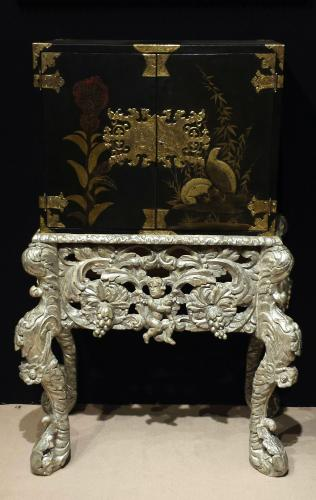17th Century Japanese Laquer Cabinet On Original Silvered Stand