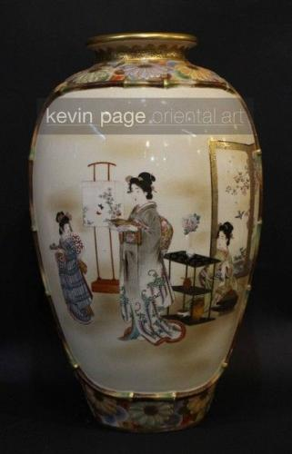 a large japanese satsuma vase decorated with finely painted bijin