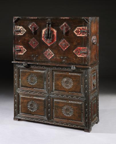 A late-17th century Spanish walnut Vargueno on a 19th century cupboard base