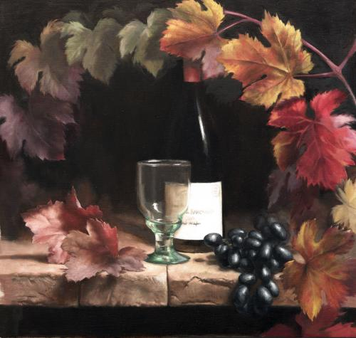 Grapes and Red Wine - Marilyn Bailey Oil on linen 2016