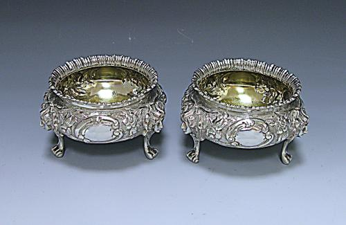 A pair of Victorian Antique Silver Salts