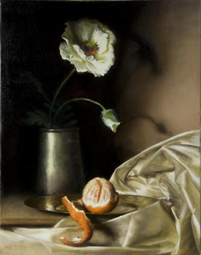White Poppy, Orange and Tankard - Marilyn Bailey