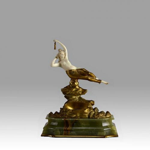 "Art Deco Hand Carved Ivory and Gilt Bronze Figure ""Riding the Wave"" by Georges Omerth"