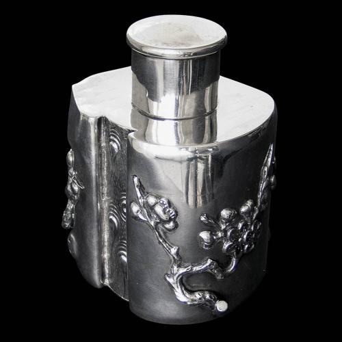 Chinese Export Silver Tea Caddy by Wang Hing