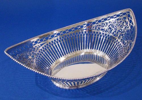 Dutch .833 Silver Navette-Shaped Pierced Basket