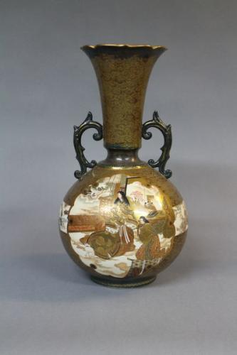 a japanese flared topped satsuma gourd shaped vase