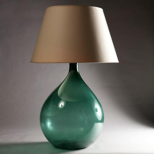 A Very Large 19th Century Green Glass Vessel as a Lamp