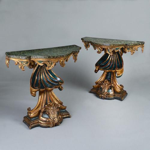 A Pair of Roman Console Tables
