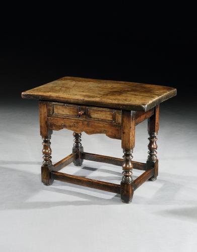 A unusual, late-17th century, Spanish, walnut, low sidetable