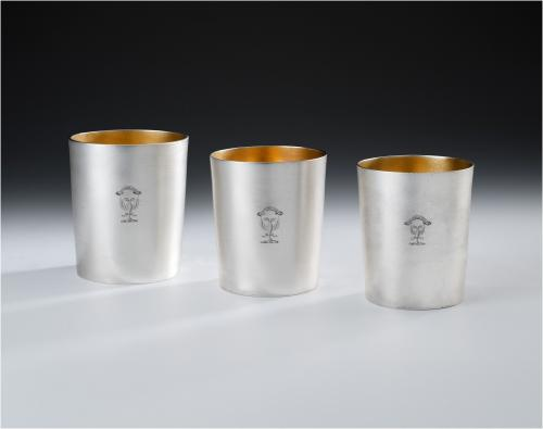 An exceptionally fine & rare set of three George III graduated Drinking Beakers made in London in 1803 by John Emes